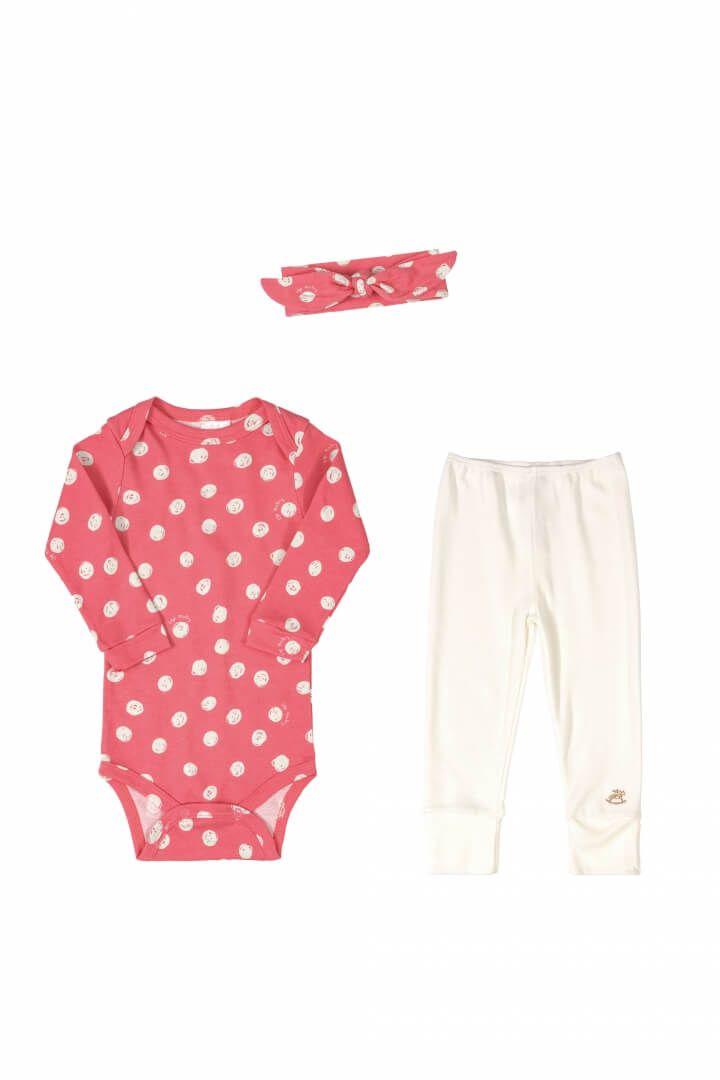 Kit Body Manga Longa, Calça e Faixa em Suedine Bolinhas - Up Baby