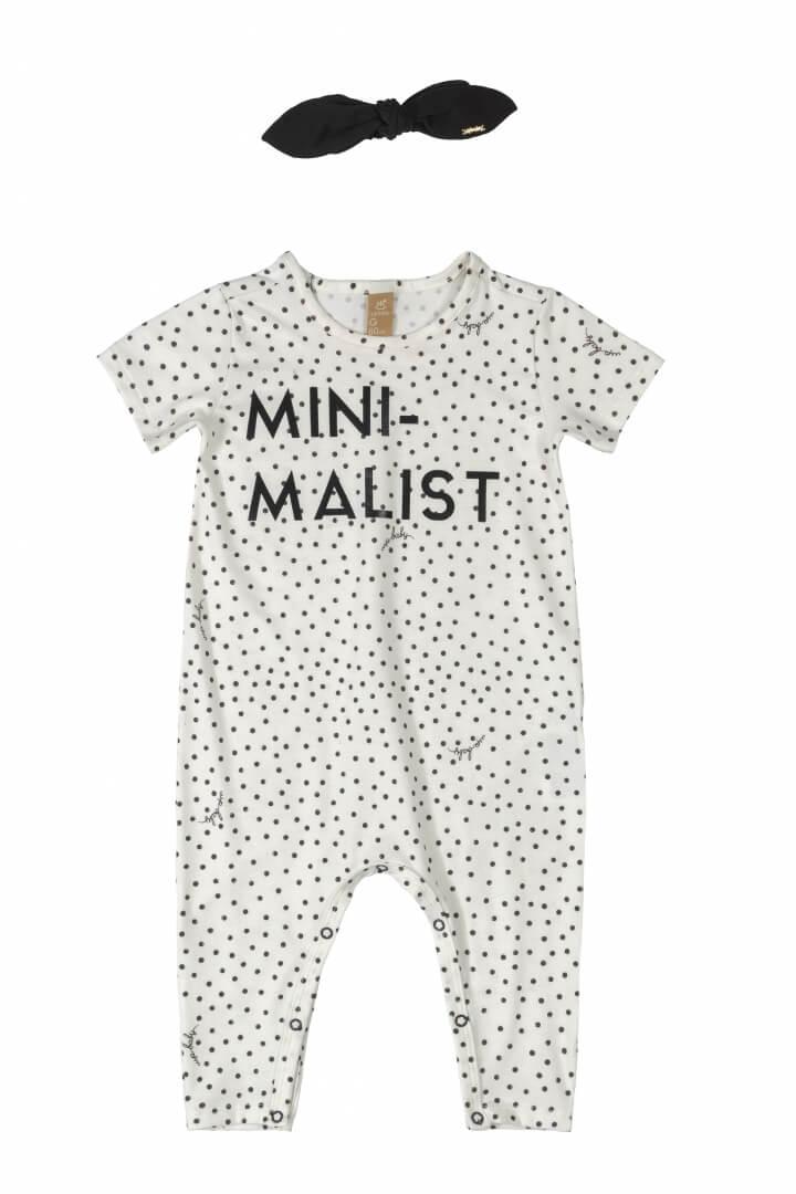 Macacão Manga Curta com Faixa em Cotton Minimalist Branco - Up Baby