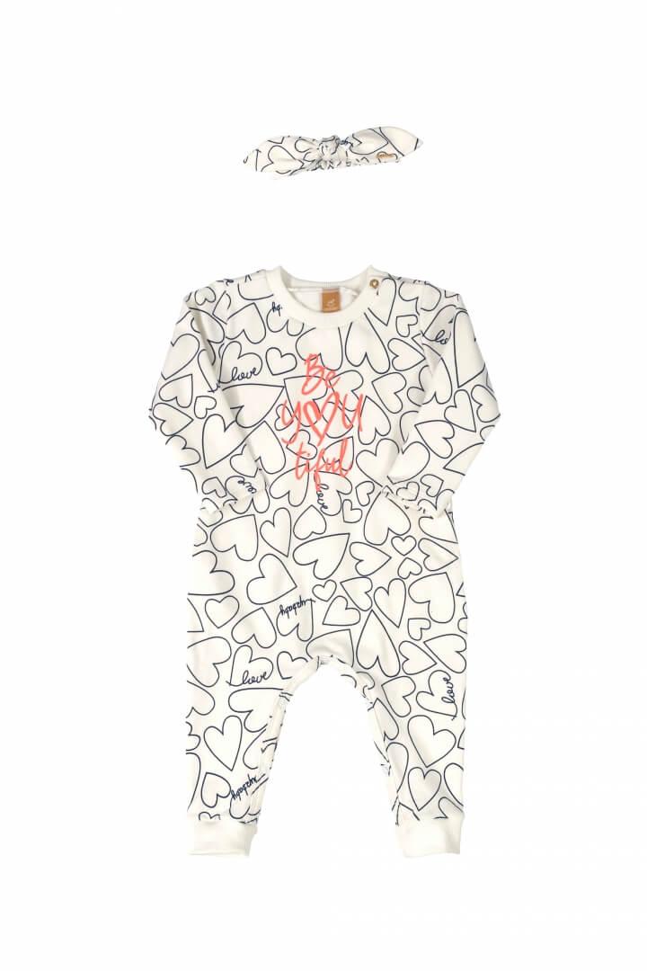 Macacão Manga Longa em Molecotton com Faixa de Cabelo em Cotton Branco - Up Baby