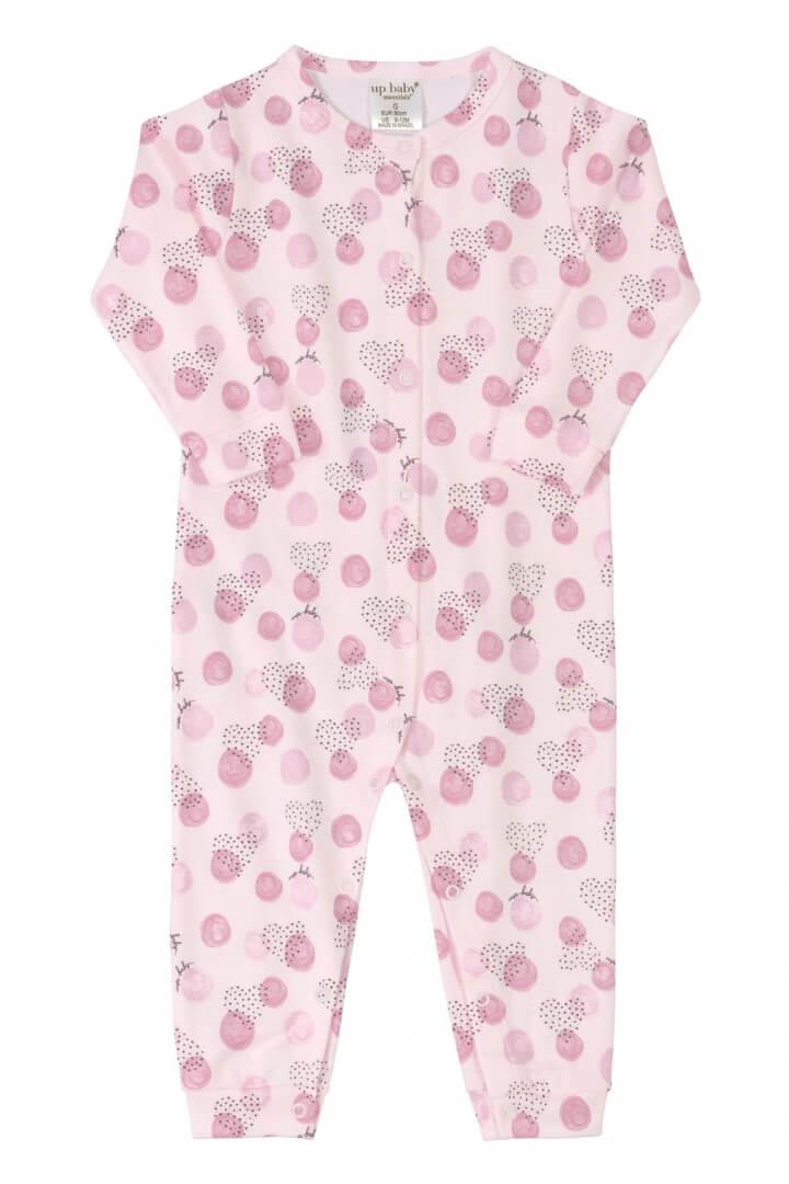 Macacão Manga Longa em Suedine Corações Rosa - Up Baby