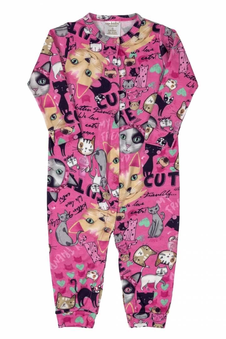 Macacão Manga Longa em Suedine Gatinhos Pink - Up Baby