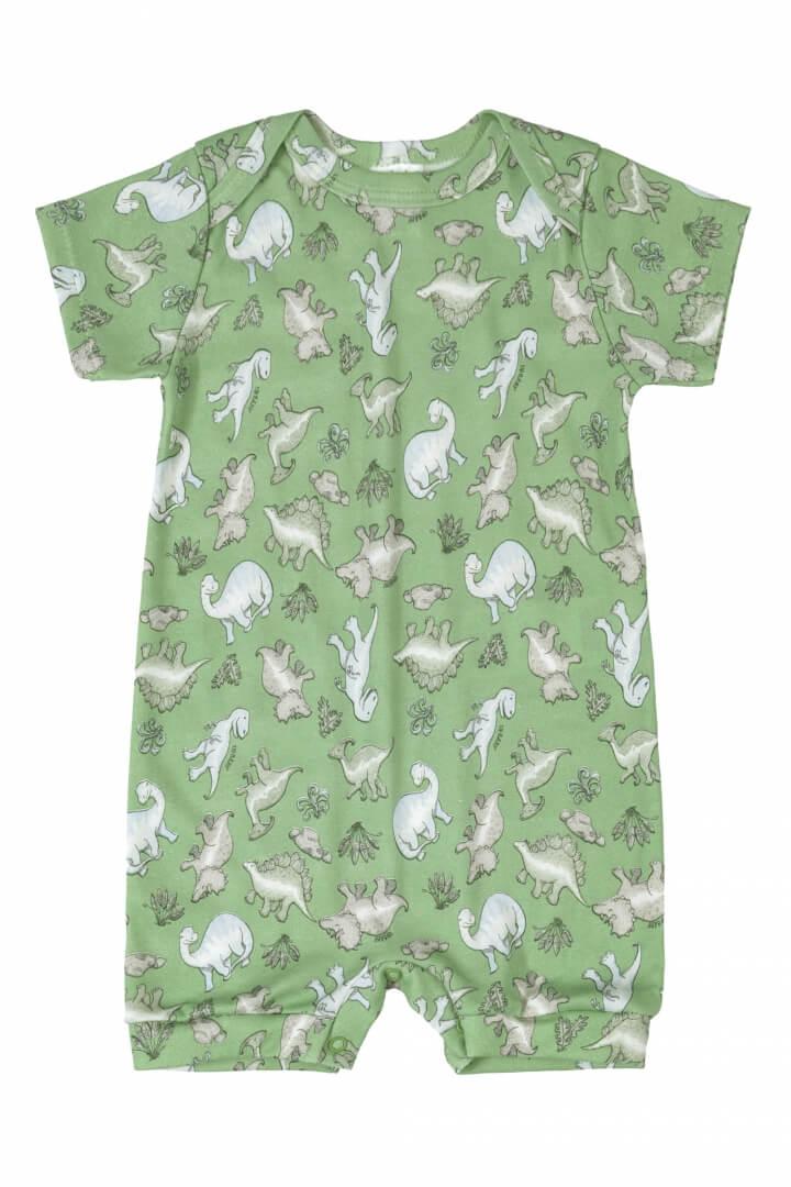 Macaquinho Manga Curta em Suedine Dinossauros (Verde) - Up Baby