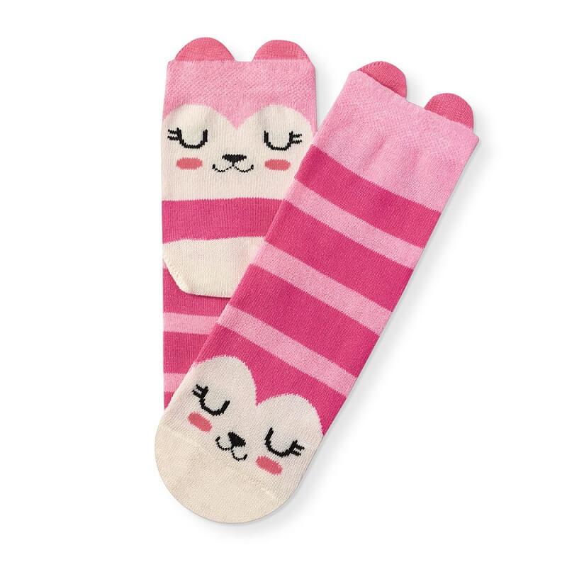 Meia Soquete Infantil Listrada Rosa Pink Orelhinhas - Cia da Meia