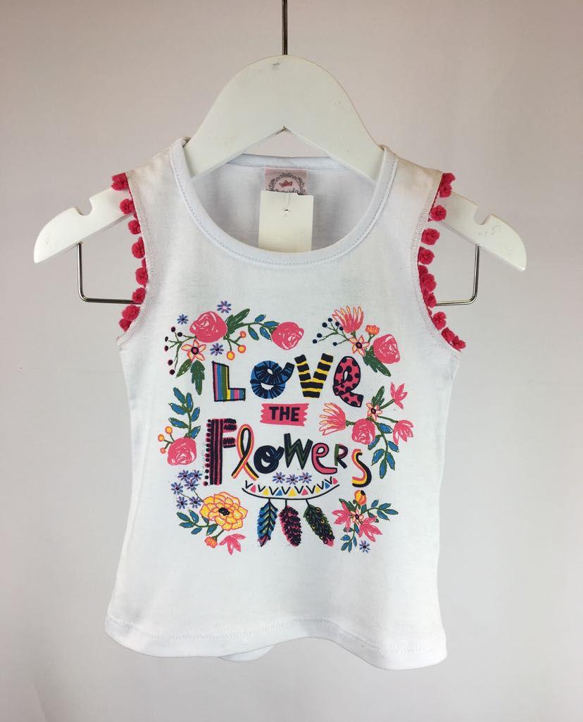 Regata com Estampa Love Flowers Meia Malha - Andrimalhas