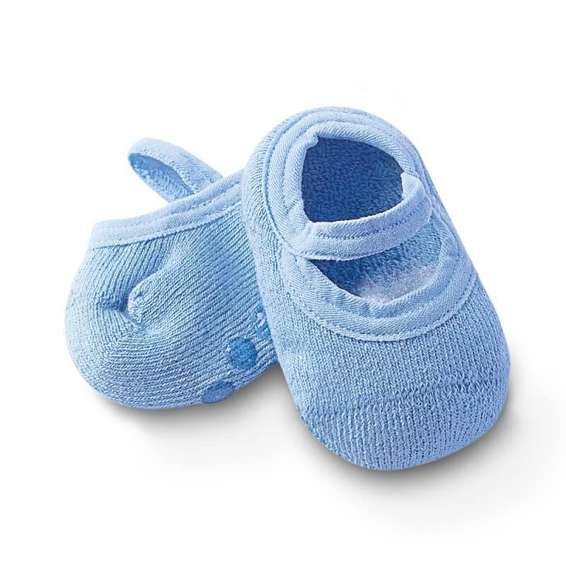 Sapatilha com Antiderrapante Bebê Azul Claro - Cia da Meia