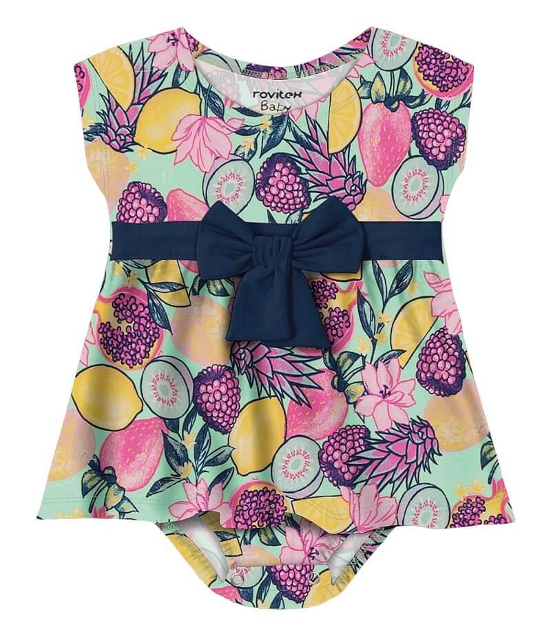 Vestido Body Cotton Leve com Laço Tropical - Rovitex Kids