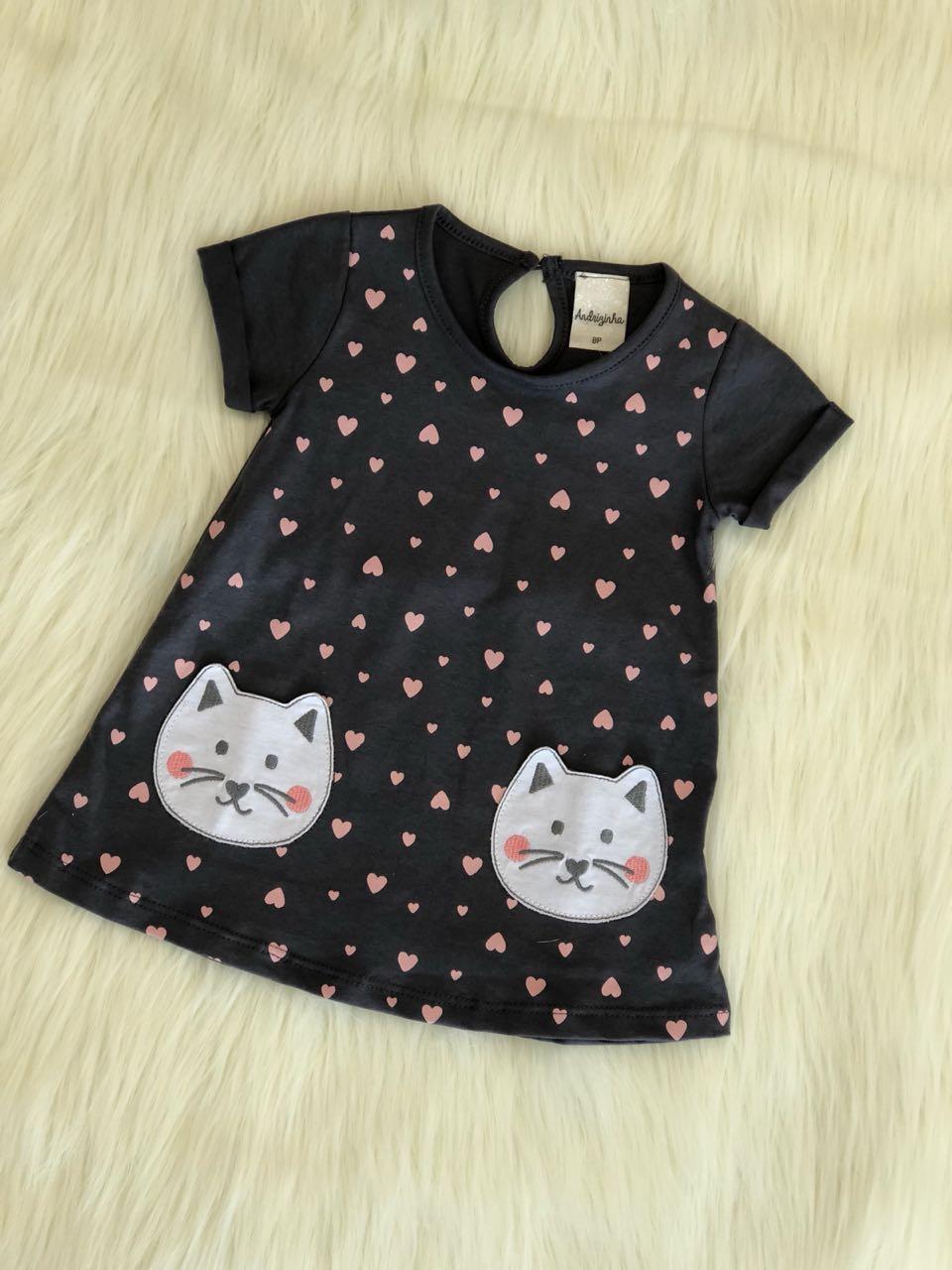 Vestido Moletinho Estampado Gato e Coração