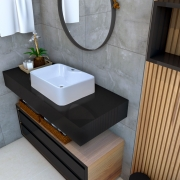 Cuba de apoio para banheiro modelo Lapa mármore sintético + Válvula