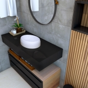 Cuba de apoio para banheiro modelo Luzza mármore sintético + Válvula