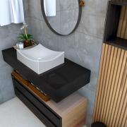 Cuba de apoio para banheiro modelo Pádua mármore sintético + Válvula