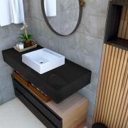 Cuba de apoio para banheiro modelo Ravena mármore sintético + Válvula
