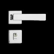 Fechadura Externa Pado Quadra Roseta Quadrada Cromada 40mm