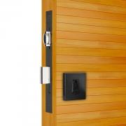 Fechadura Pado Rolete 45mm Porta Pivotante Cilindro de 74mm preto texturizado