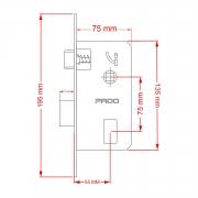 Fechadura Pado Rolete 55mm Porta Pivotante Cilindro de 55mm cromada