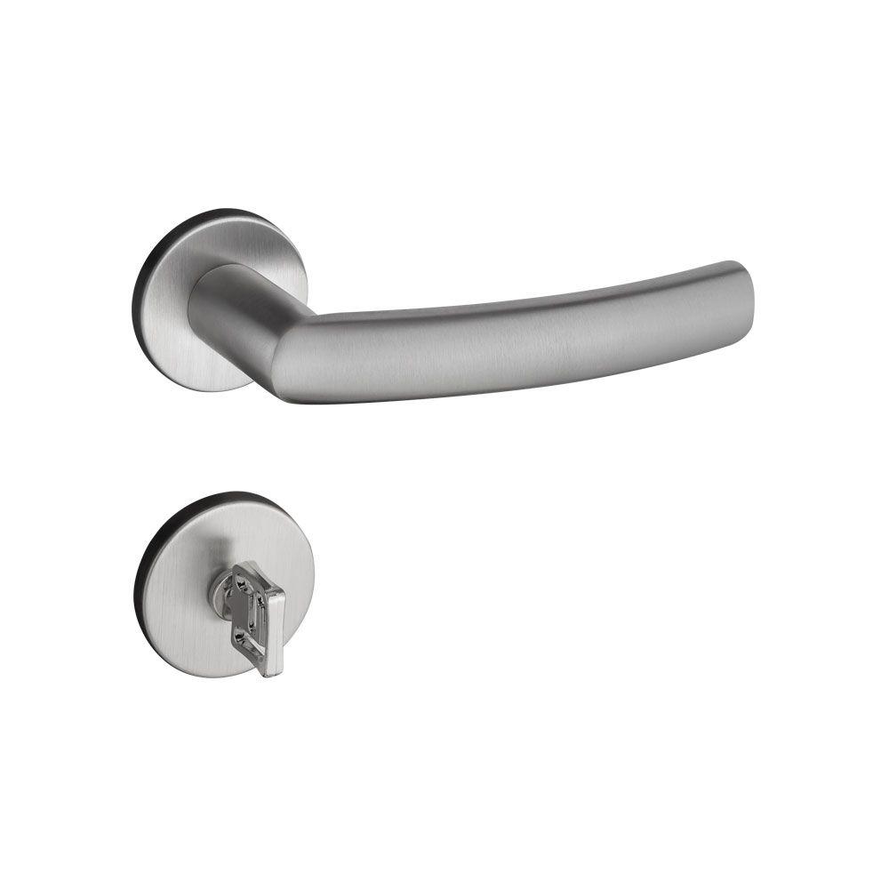 Fechadura Banheiro Pado Luma  Roseta Redonda 55mm Inox Escovado