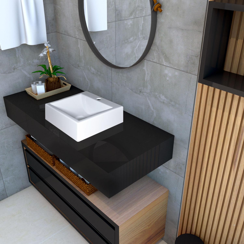 Cuba de apoio para banheiro modelo Napoli mármore sintético + Válvula