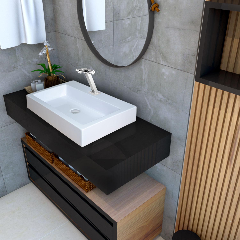 Cuba de apoio para banheiro modelo Paris mármore sintético + Válvula