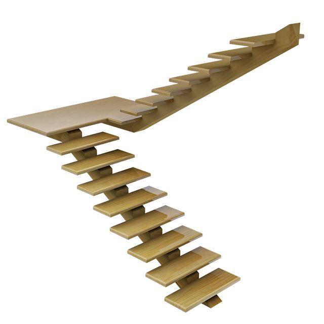 Escada suspensa de madeira em garapeira