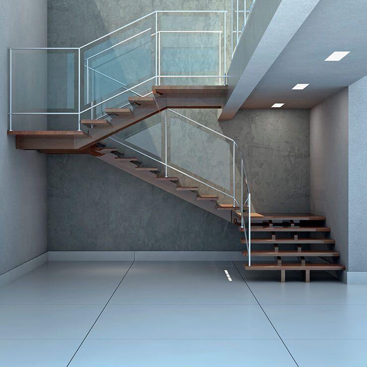Escada suspensa em L de madeira maciça de cumaru