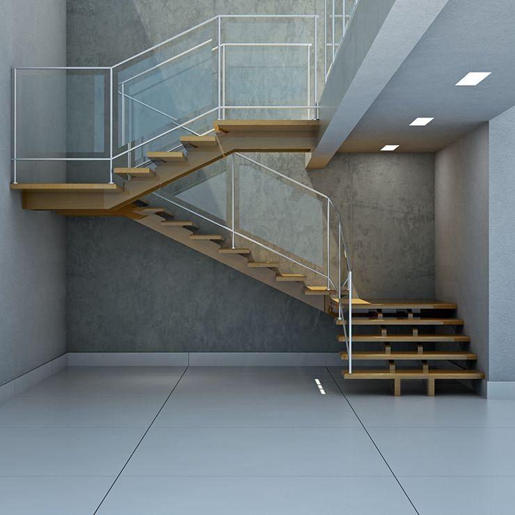 Escada suspensa L em madeira maciça de garapeira