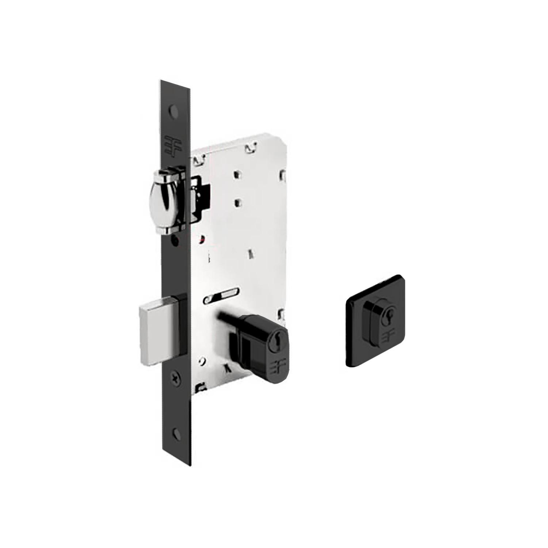 Fechadura 3F Rolete Para Porta Pivotante Cilindro de 9 cm - Preto