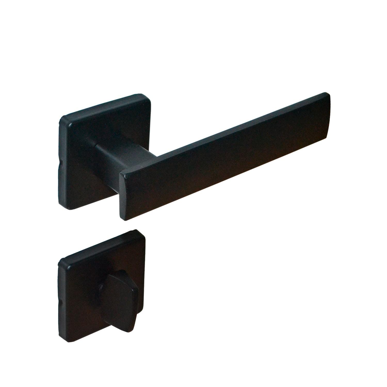 Fechadura Banheiro Imab Metro Light Roseta Quadrada preta 55mm