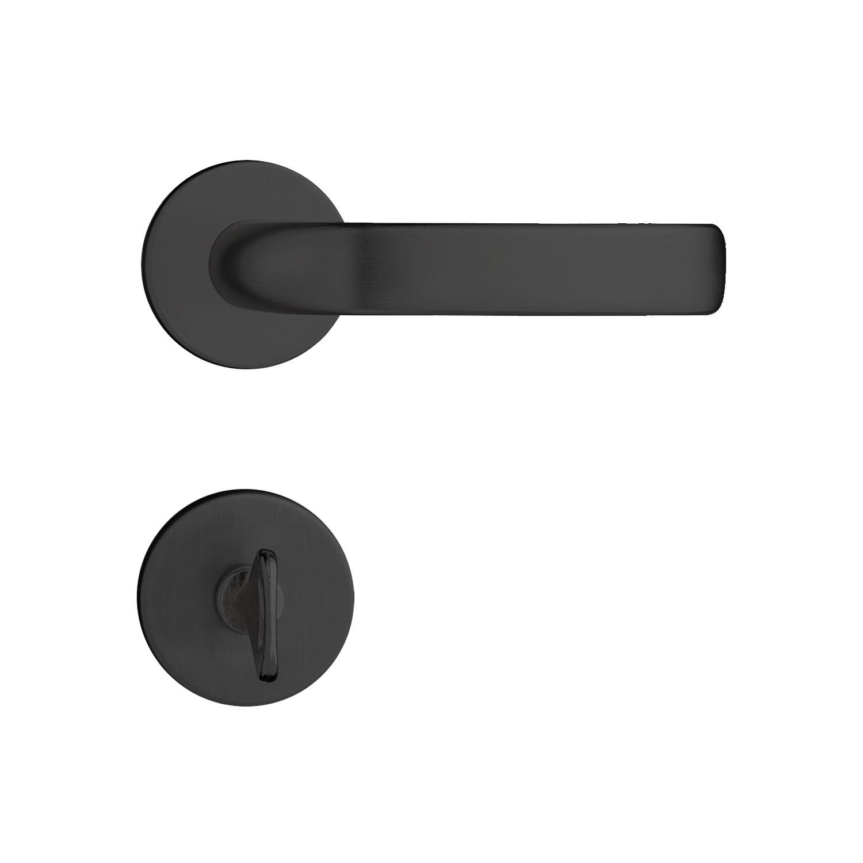 Fechadura Banheiro Pado Concept Roseta Redonda Preta 40mm 413B
