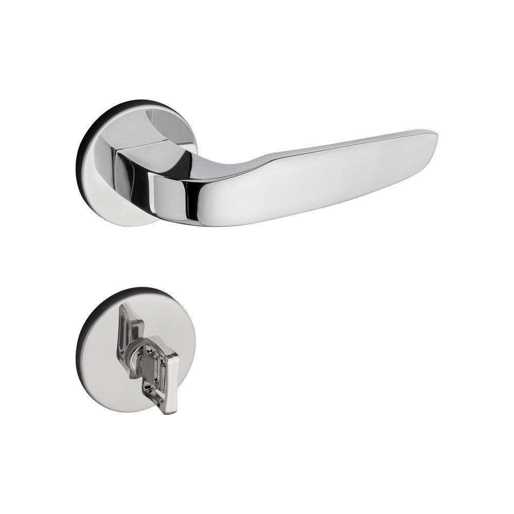 Fechadura Banheiro Pado Ibiza Roseta Redonda Cromada 55mm
