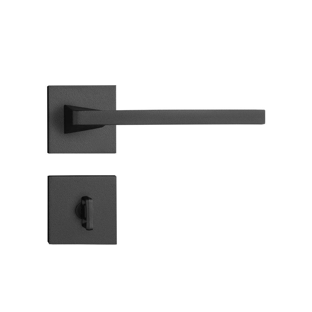 Fechadura Banheiro Pado Karli Roseta Quadrada Preta 55mm