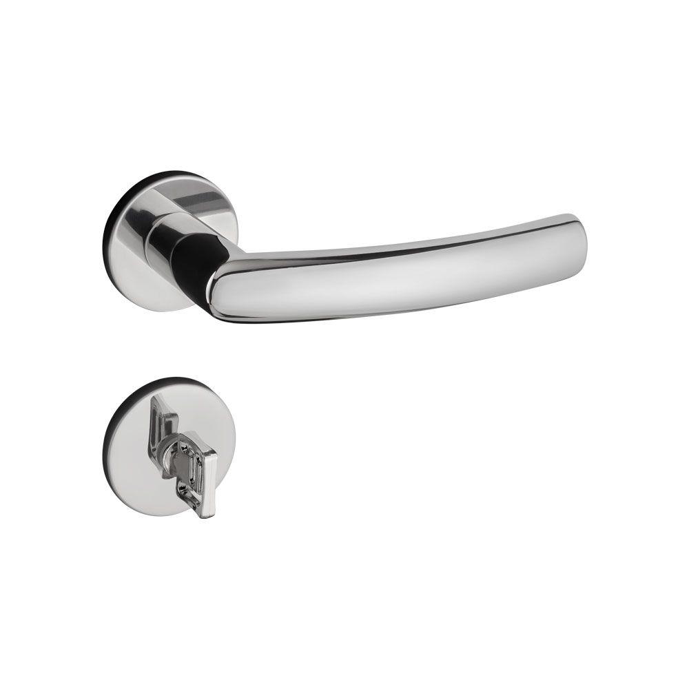Fechadura Banheiro Pado Luma  Roseta Redonda 55mm Inox polido