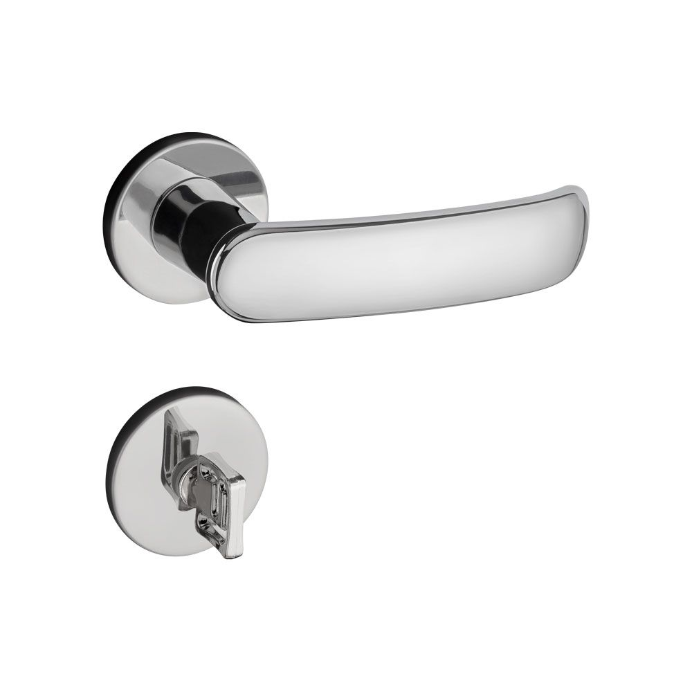 Fechadura Banheiro Pado Madrid Roseta Redonda Cromada 40mm