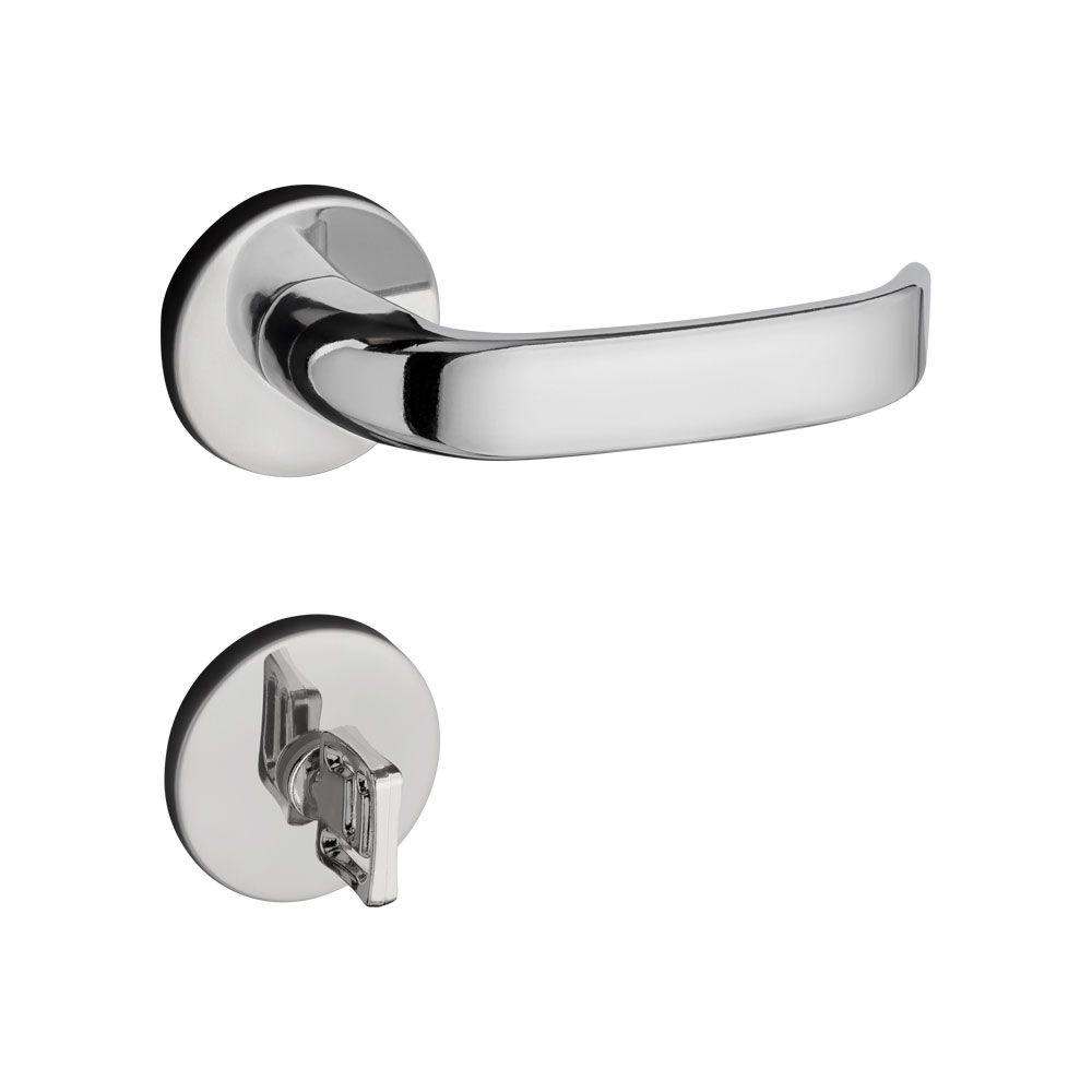 Fechadura Banheiro Pado Magnum Roseta Redonda Cromada 40mm