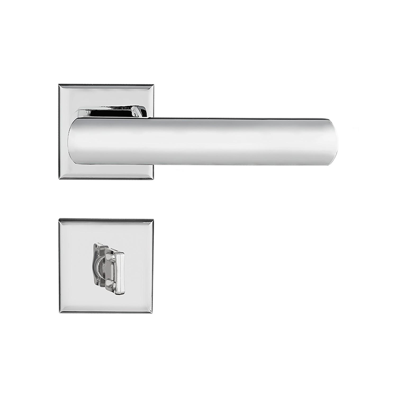 Fechadura Banheiro Pado Opera Roseta Quadrada Cromada 55mm