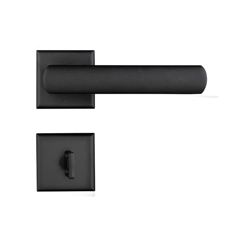 Fechadura Banheiro Pado Opera Roseta Quadrada Preta 55mm