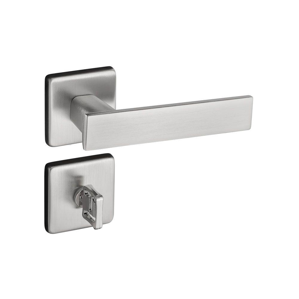 Fechadura Banheiro Pado Quadra Roseta Quadrada Escovada 40mm