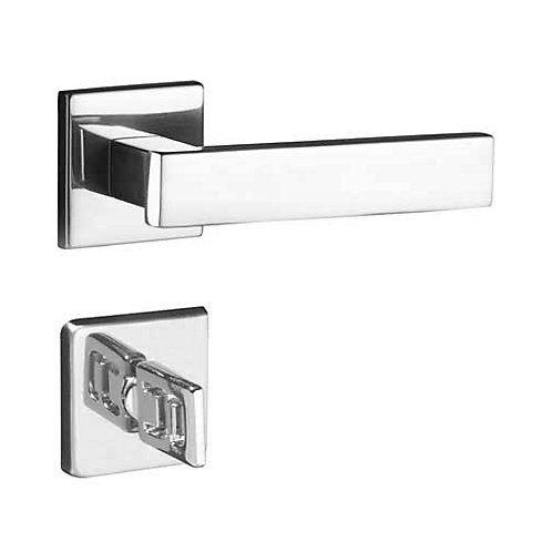 Fechadura Banheiro Pado Retro Roseta Quadrada Cromada 55mm