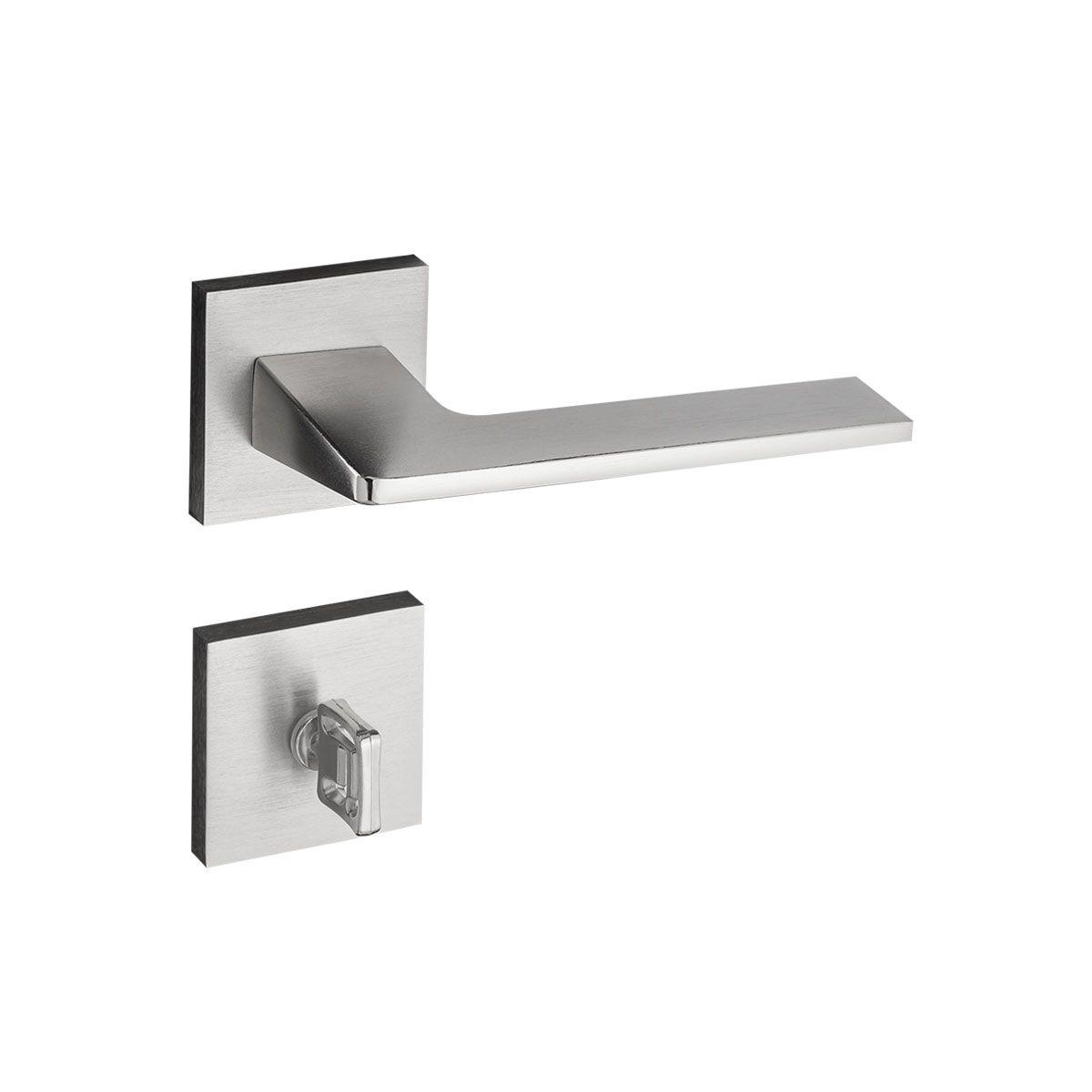 Fechadura Banheiro Pado Sara Roseta Quadrada Escovada 55mm