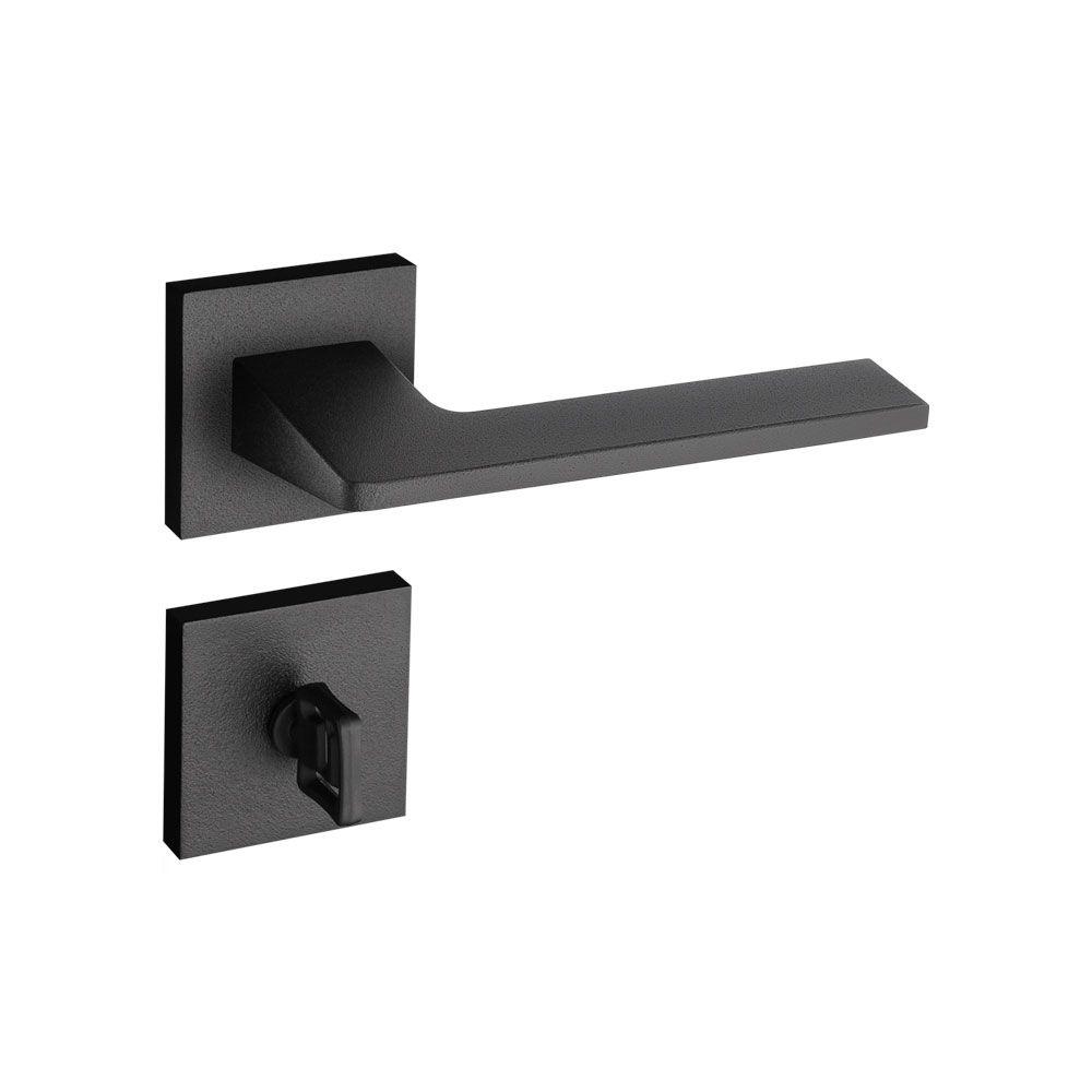 Fechadura Banheiro Pado Sara Roseta Quadrada Preta 55mm