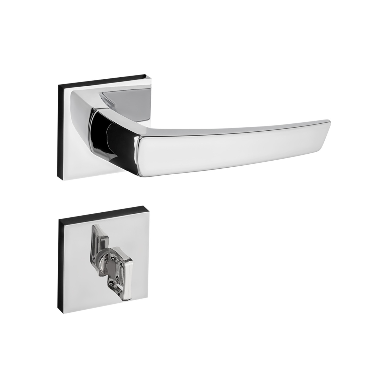 Fechadura banheiro pado Seattle roseta quadrada cromada  55mm