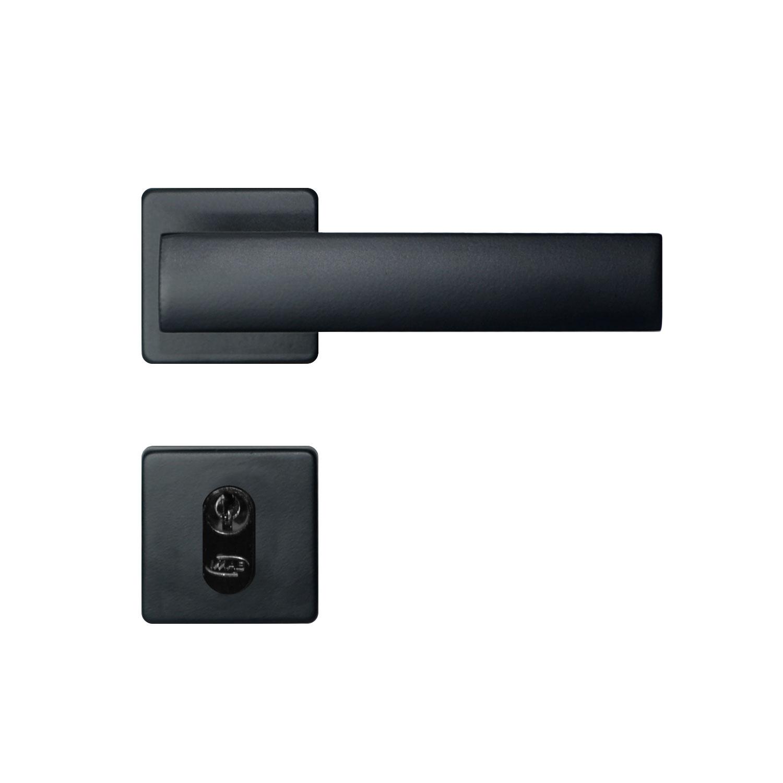 Fechadura externa Imab Metro Light Roseta Quadrada preta 55mm
