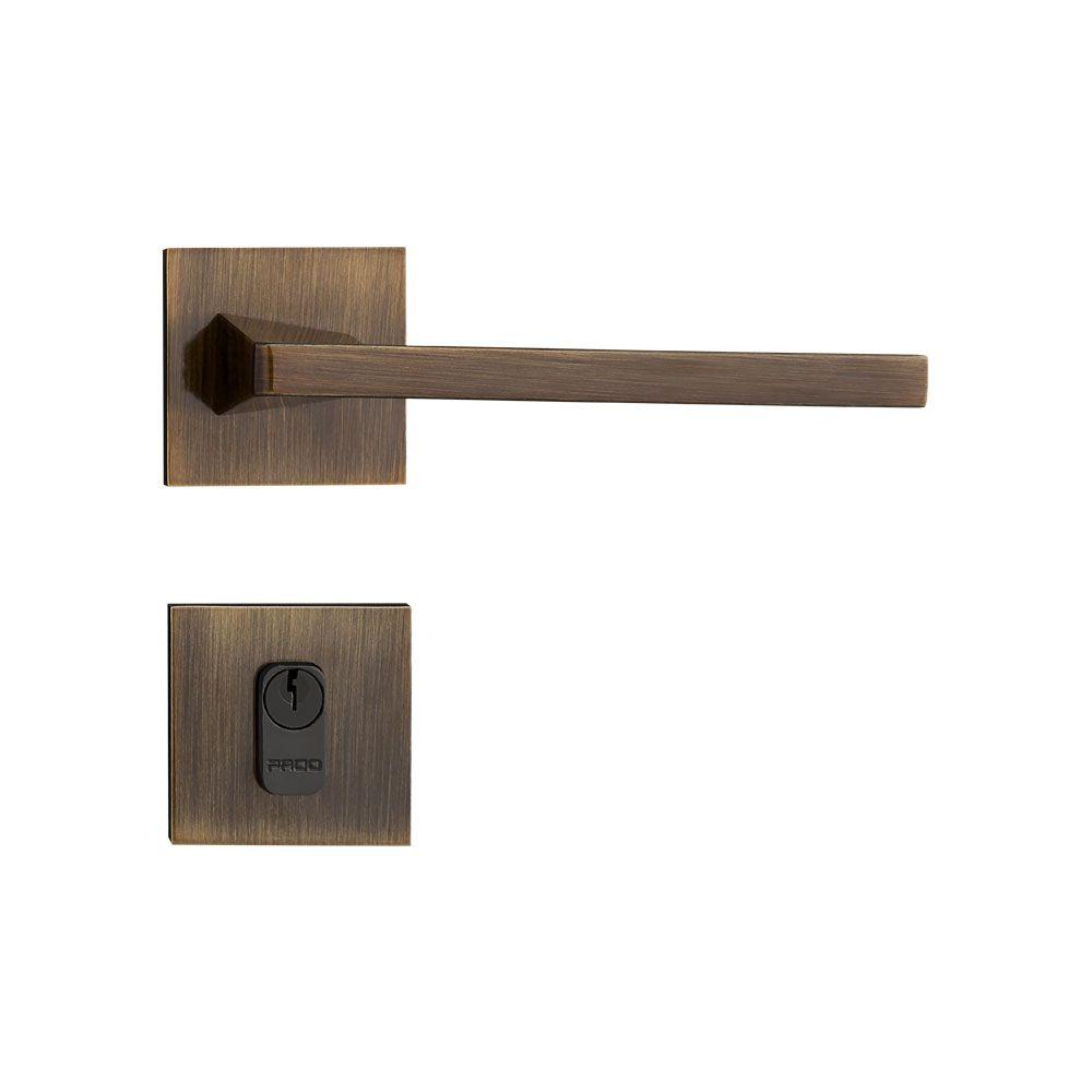 Fechadura Externa/Interna Pado Karli Roseta Quadrada Bronze 55mm