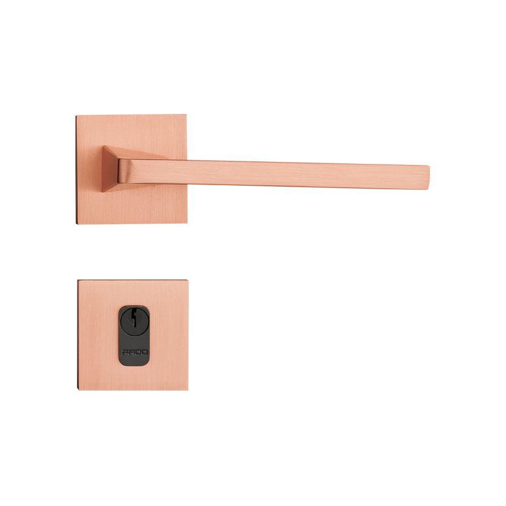 Fechadura Externa Pado Karli Roseta Quadrada Rose 55mm