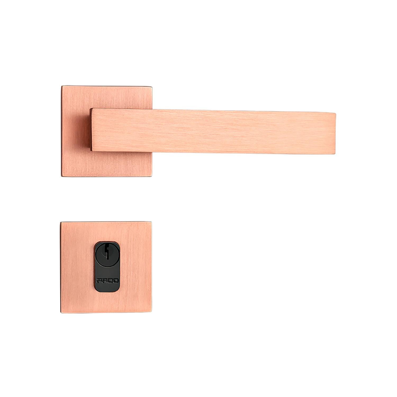 Fechadura Externa Pado Retro Roseta Quadrada Rose 55mm