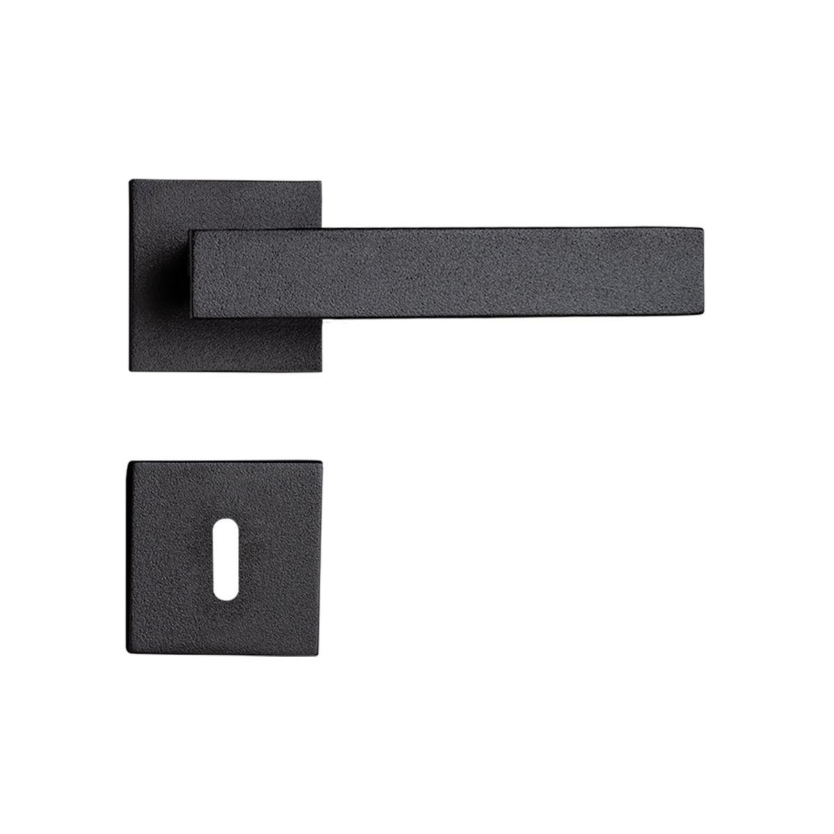 Fechadura Interna Pado Retro Roseta Quadrada Preta 55mm