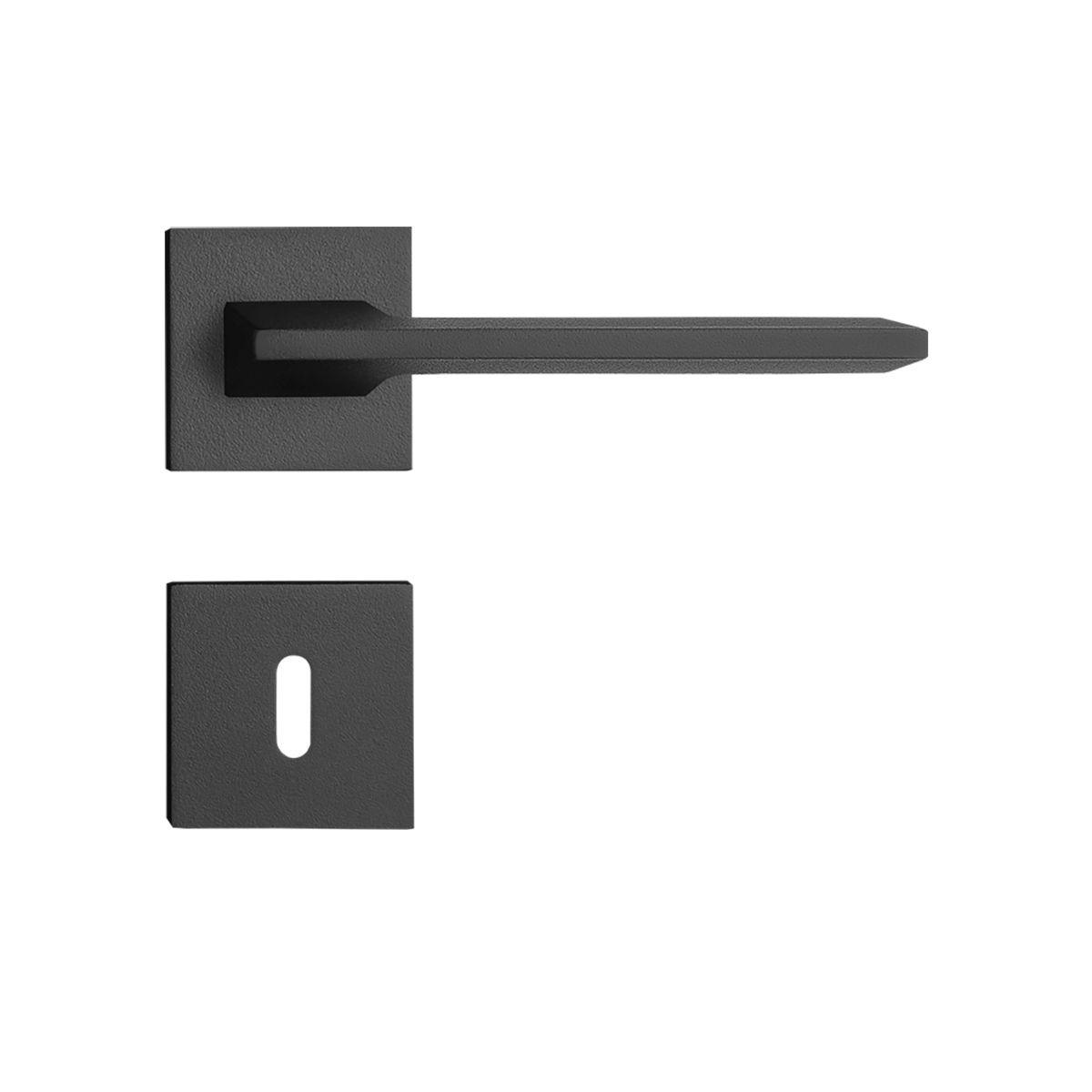 Fechadura Interna Pado Sara Roseta Quadrada Preta 55mm