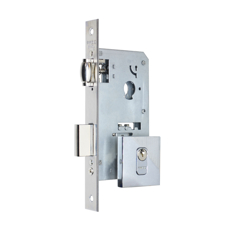 Fechadura Pado Rolete 55mm Porta Pivotante Cilindro de 90mm cromado