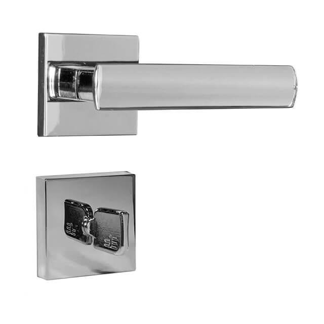 Fechadura Banheiro 3F Serie Roseta Quadrada Cromada 55mm