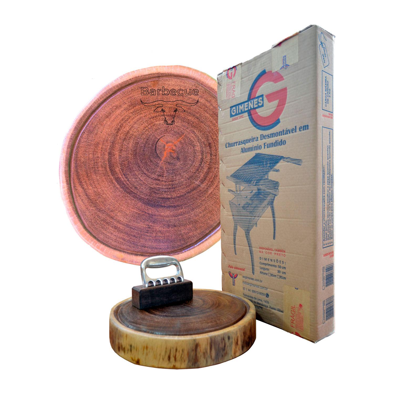 Kit churrasco advantage line 65cr - Churrasqueira + Garra + tábua personalizada