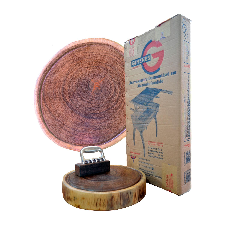 Kit churrasco basic line 65pp - Churrasqueira + Garra + tábua rústica