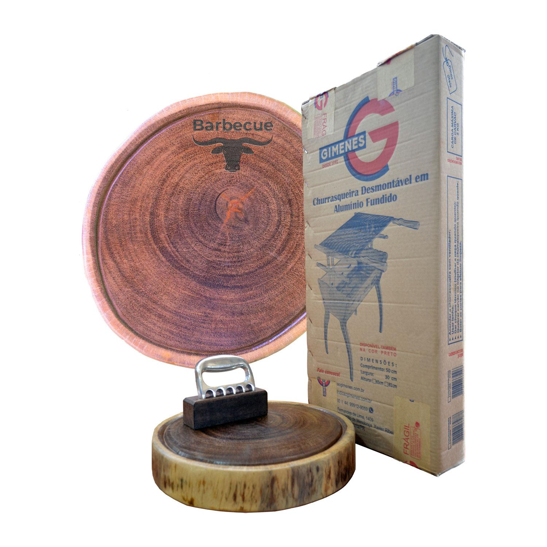 Kit churrasco premiun line 65pp - Churrasqueira + Garra + tábua personalizada